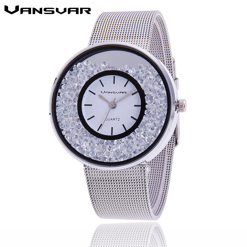 Vansvar Brand Fashion Stainless Steel Gold And Silver Mesh Band Women Wristwatches Casual Luxury Quartz Watch Relogio Feminino
