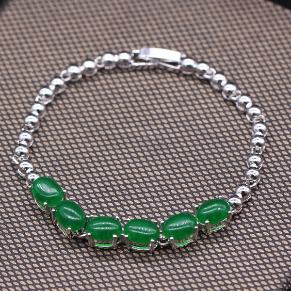 GZJY Classic Style Lenght 170mm Bangles White Gold Color Green Stone Bangles Bracelets