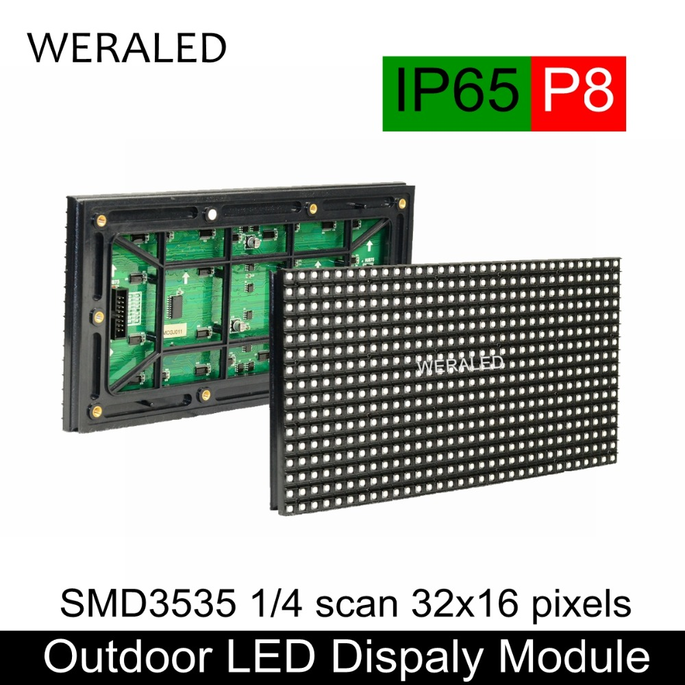 WERALED P8 Açık Reklam LED Video Ekran Tam Renkli LED Ekran Paneli 256*128mm 32*16 Dots 1/4 Tarama Sabit Akım
