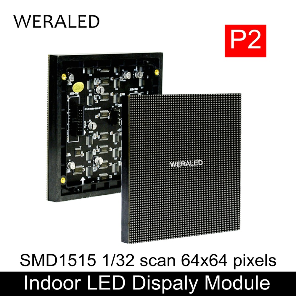 WERALED P2 Kapalı Tam Renkli LED Ekran Modülü 3-in-1 SMD1515 128*128mm 64*64/128*64 Piksel Net Video Ekran LED Paneli