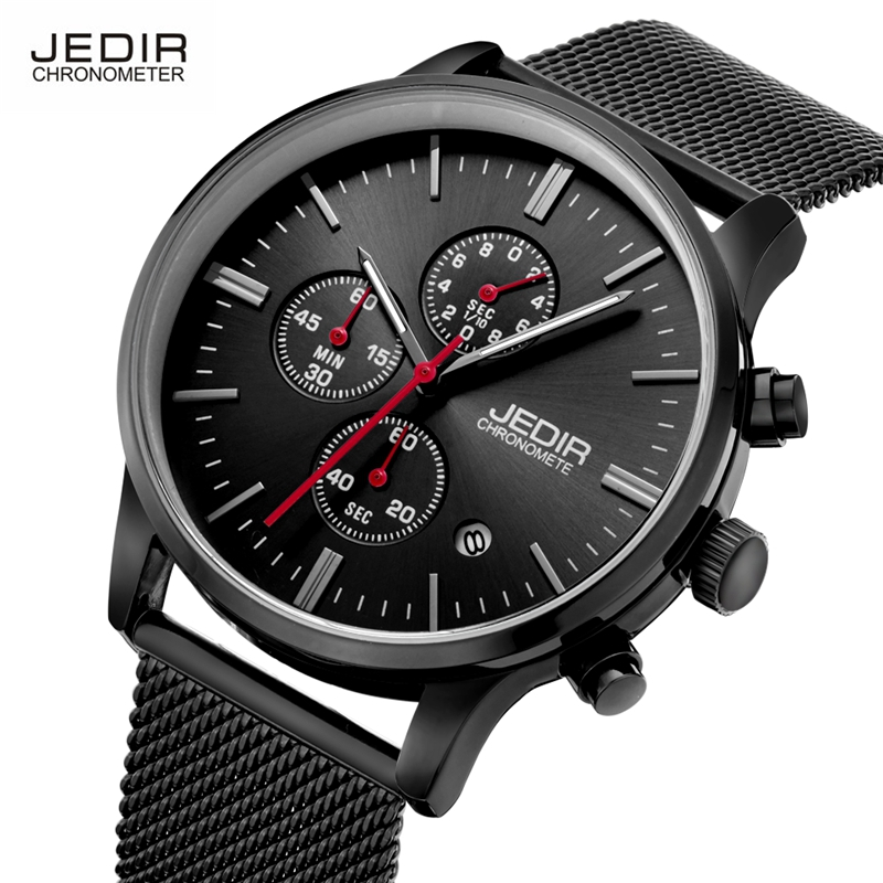 JEDIR 2017 Quartz Watches Men Stainless Steel Mesh Chronograph Watches Male Running Wristwatch montre homme