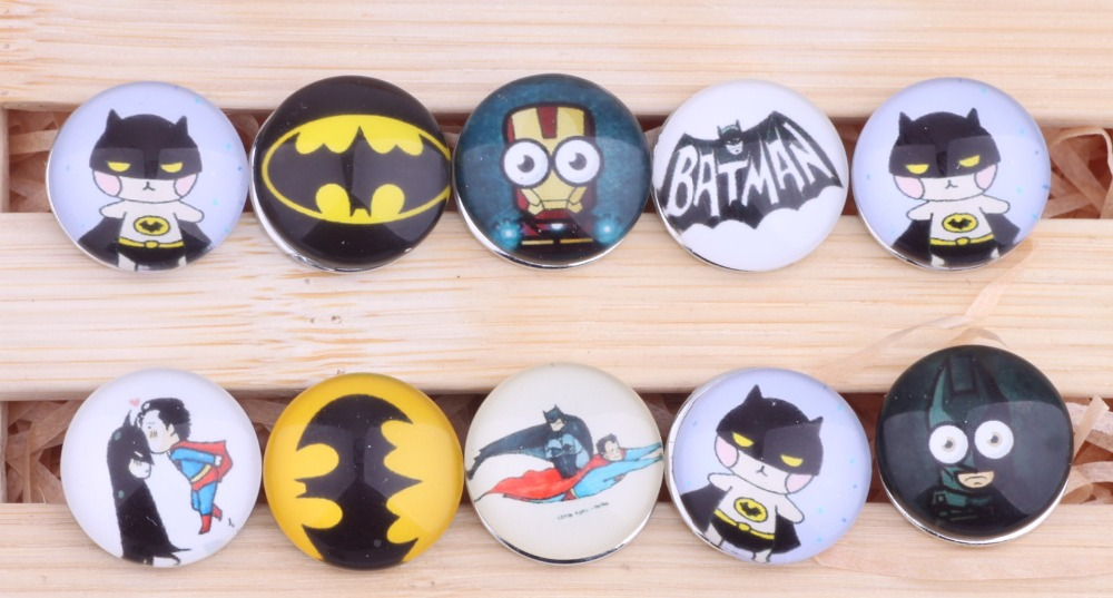 PAPAPRESS 30pcs/lot Mix Styles 18mm Snaps Button Batman Glass Snap Button Fit Snap Leather Bracelet Jewelry Findings M583