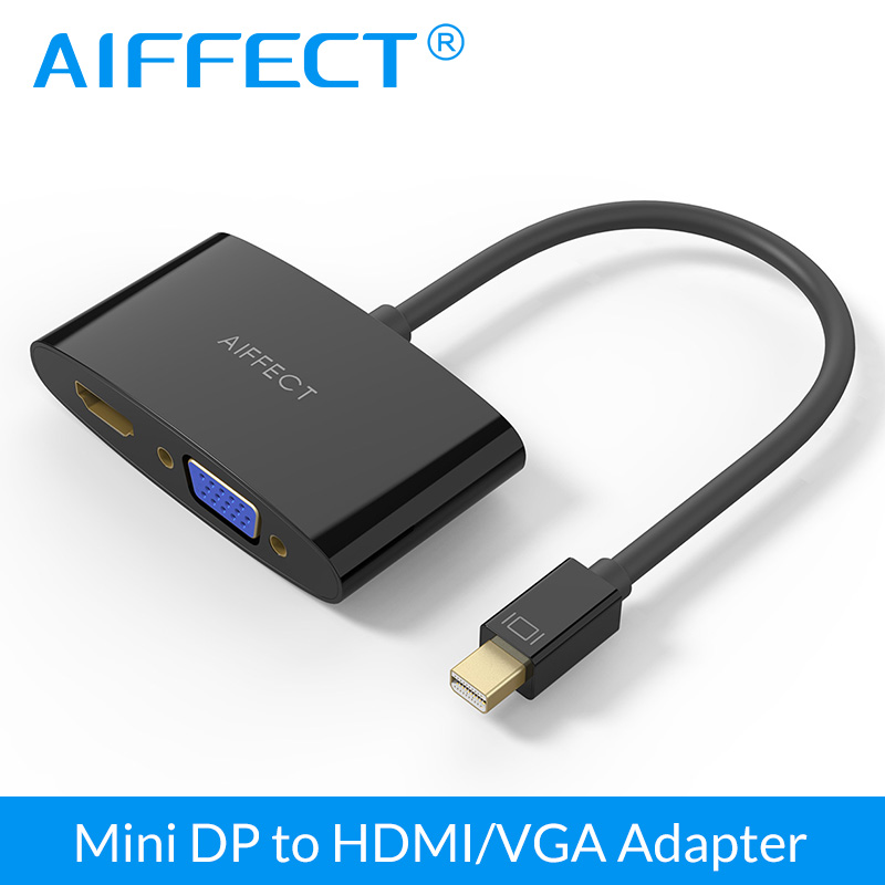 Aiffect mini dp displayport hdmi vga adaptörü dönüştürücü kablosu apple macbook air pro için display port dp kablo hdtv projektör