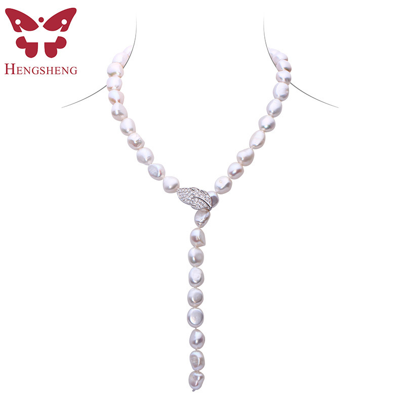 HENGSHENG Natural Pearl Long Necklace For Women,Braque Style,Real Freshwater Pearl,90cm length, Lots of Wear Ways,Gift For Women