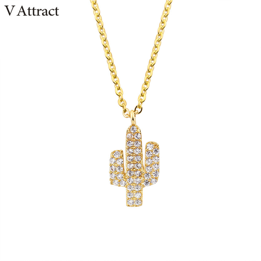 V Attract Summer Bijoux Femme CZ Zircon Choker Pendant For Women Stainless Steel Chain Cactus Unique Charm Necklace
